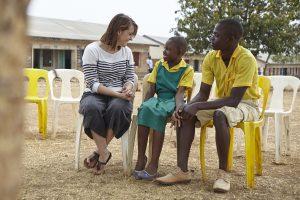Sofie op school in Malawi